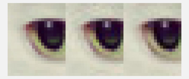 20x24 pixel zoomed areas from a picture of a cat's eye