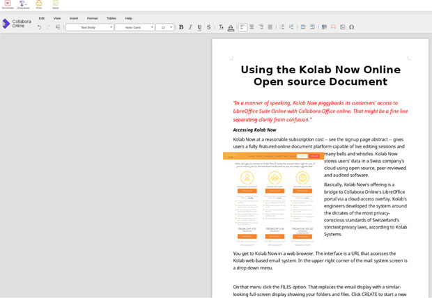 Kolab Now Online Open Source Document