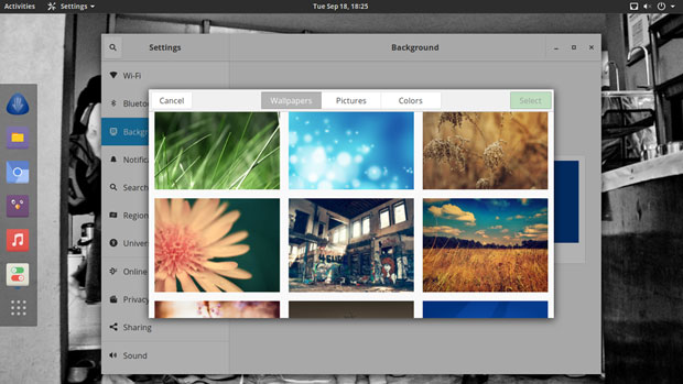 Antergos 18.9 background images and color patterns