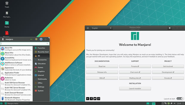 Manjaro-Xfce edition user interface