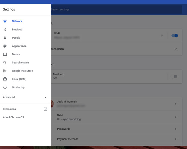 ASUS Chromebook Flip C213SA Chrome OS settings panel