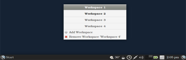 Blue Collar Linux's workspace switcher panel