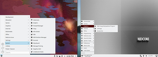 Redcore Linux two desktop options: KDE Plasma and LXQt