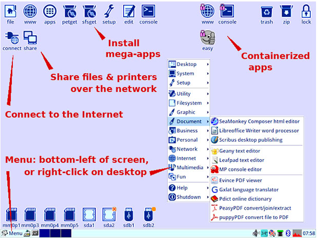This illustration shows the desktop features forEasyOS at a glance.