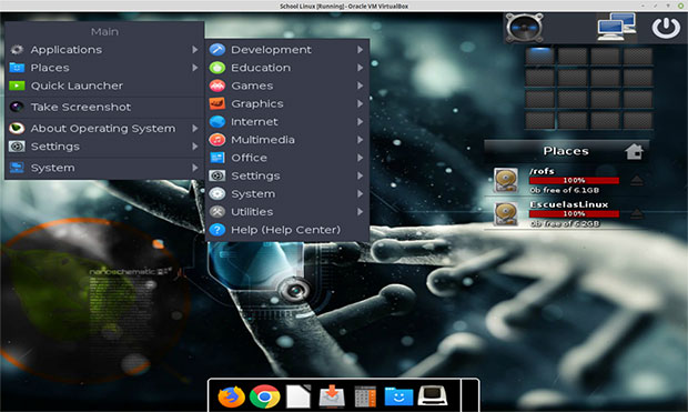 Moksha desktop in EscuelasLinux, desktop gadgets and modules