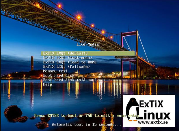 ExTix Linux retains a live session environment after installation.