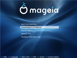 Mageia Linux's splash page
